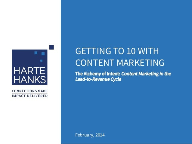 GETTING TO 10 WITH CONTENT MARKETING February, 2014