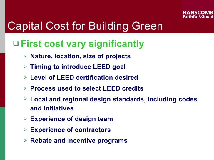 F G Cost Of Leed