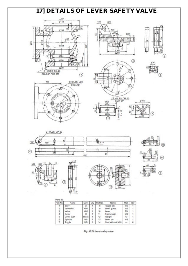 Assembly and details machine drawing pdf 17 details of lever safety valve ccuart Image collections