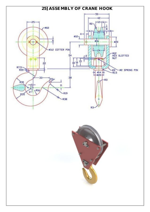 Assembly and details machine drawing pdf 25 assembly of crane hook ccuart Images
