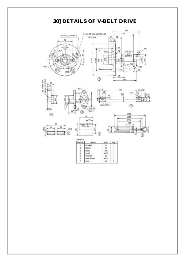 Assembly and details machine drawing pdf 30 details of v belt drive ccuart Image collections