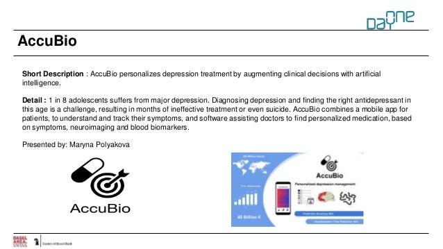 AccuBio Short Description : AccuBio personalizes depression treatment by augmenting clinical decisions with artificial int...
