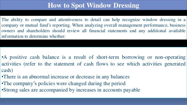 What is Window Dressing?