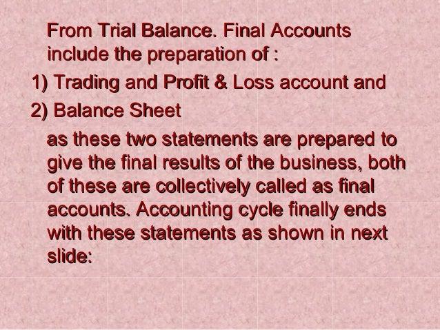 final account trading account pl acc balance sheet