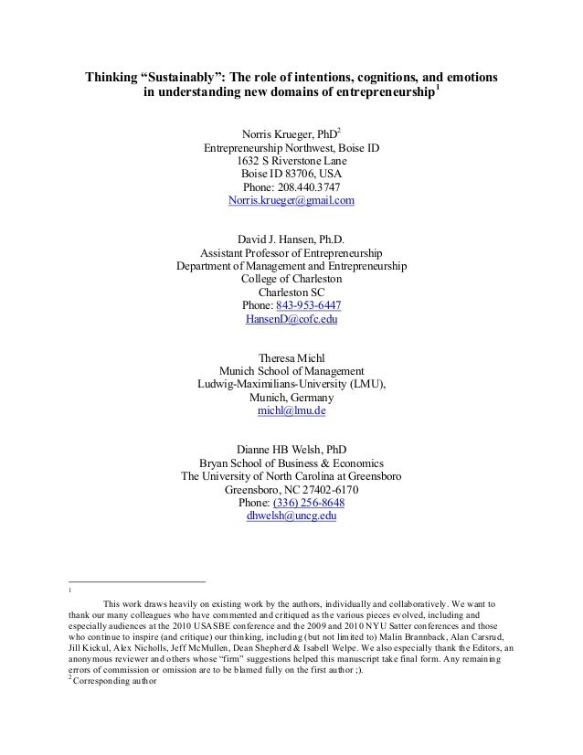 """Thinking """"Sustainably"""": The role of intentions, cognitions, and emotions in understanding new domains of entrepreneurship1..."""