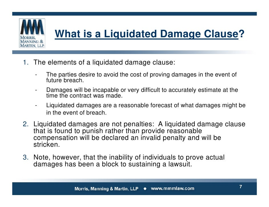 liquidating agreement For more than 20 years, many lease agreements had clauses which imposed a penalty in the form of a flat amount in the event the tenant skipped this flat amount was variously known as an early termination fee, re-let fee, or liquidated damages charge the purpose of these charges was to help.