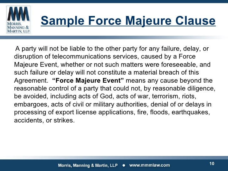 Legal issues impacting data center owners operators amp users sample force majeure clause pronofoot35fo Image collections