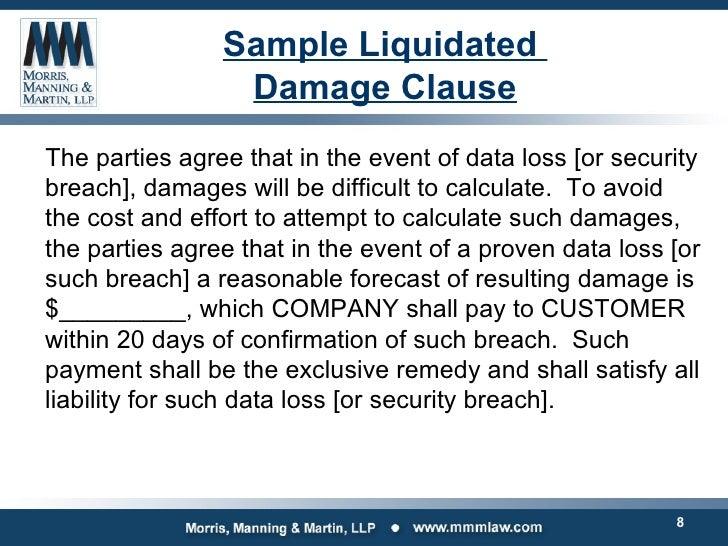 Liquidating damages clause example