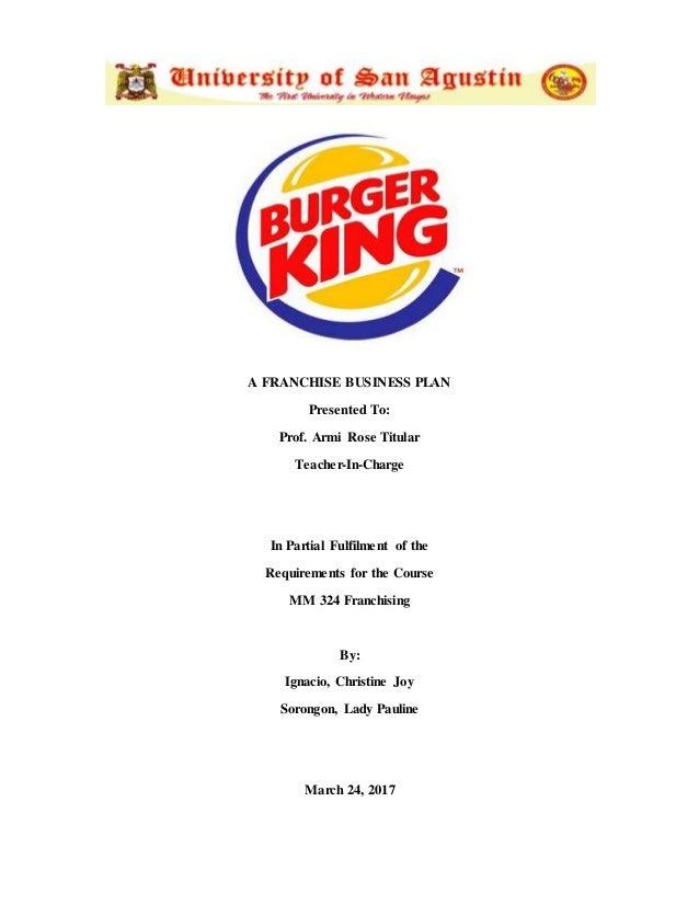 business plan of burger king pdf