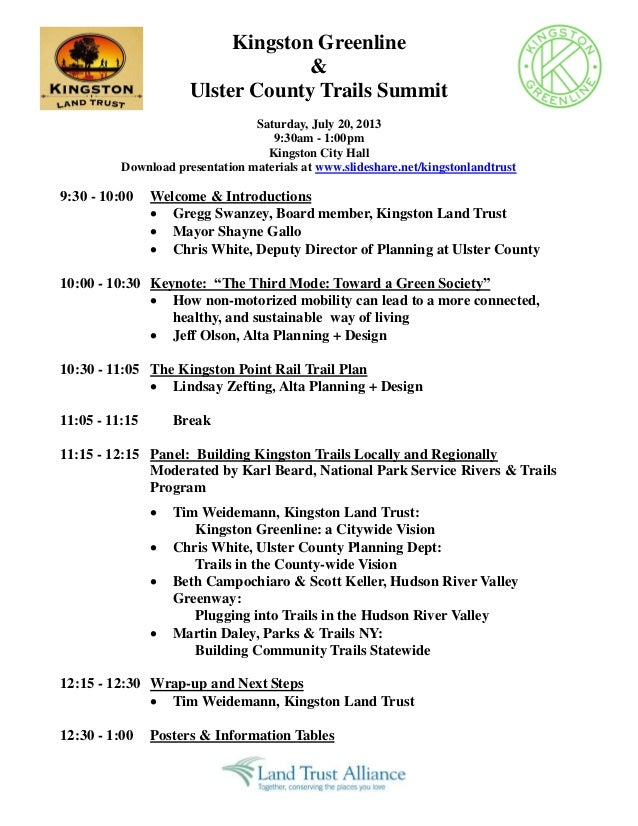Kingston Greenline & Ulster County Trails Summit Saturday, July 20, 2013 9:30am - 1:00pm Kingston City Hall Download prese...