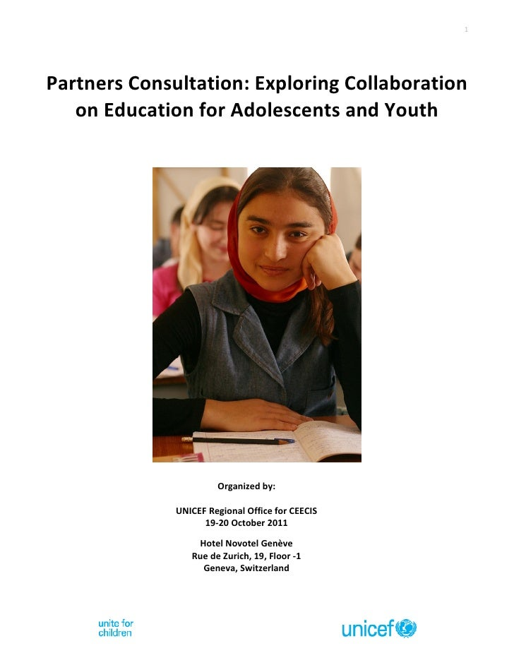 1Partners Consultation: Exploring Collaboration   on Education for Adolescents and Youth                       Organized b...