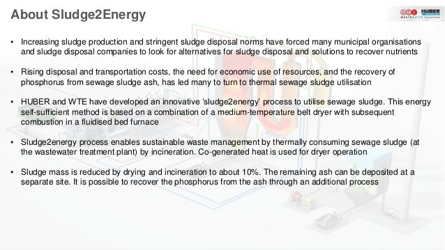Sludge2Energy: Energy self-sustaining sewage sludge utilisation process Slide 3
