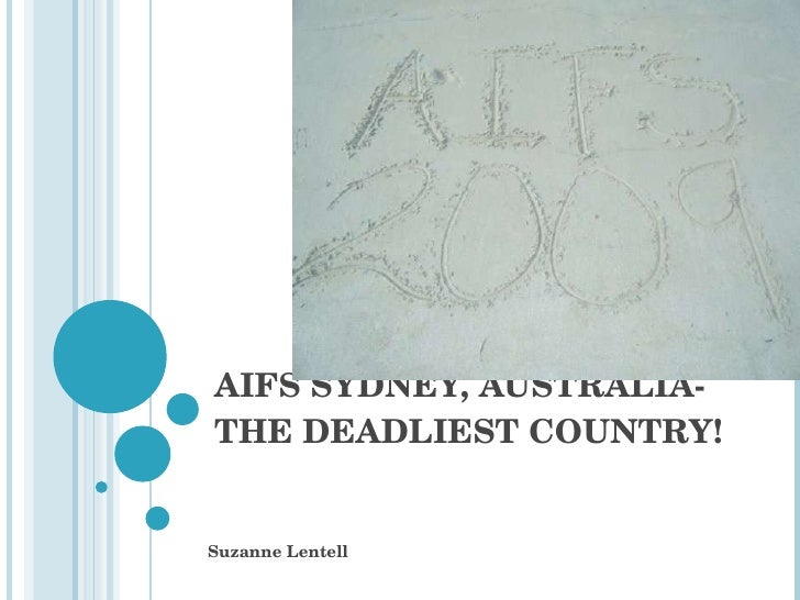 AIFS SYDNEY, AUSTRALIA-THE DEADLIEST COUNTRY! Suzanne Lentell