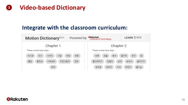12 3 Video-based Dictionary Integrate with the classroom curriculum:
