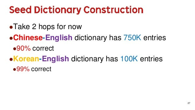 27 Take 2 hops for now Chinese-English dictionary has 750K entries 90% correct Korean-English dictionary has 100K entr...