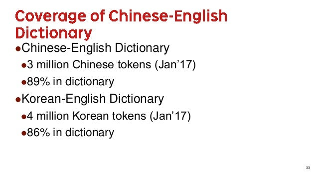 33 Chinese-English Dictionary 3 million Chinese tokens (Jan'17) 89% in dictionary Korean-English Dictionary 4 million...