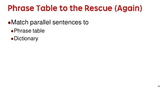 35 Match parallel sentences to Phrase table Dictionary