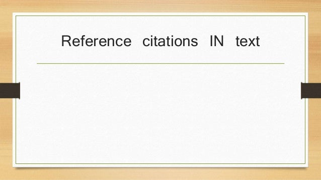 Reference citations IN text