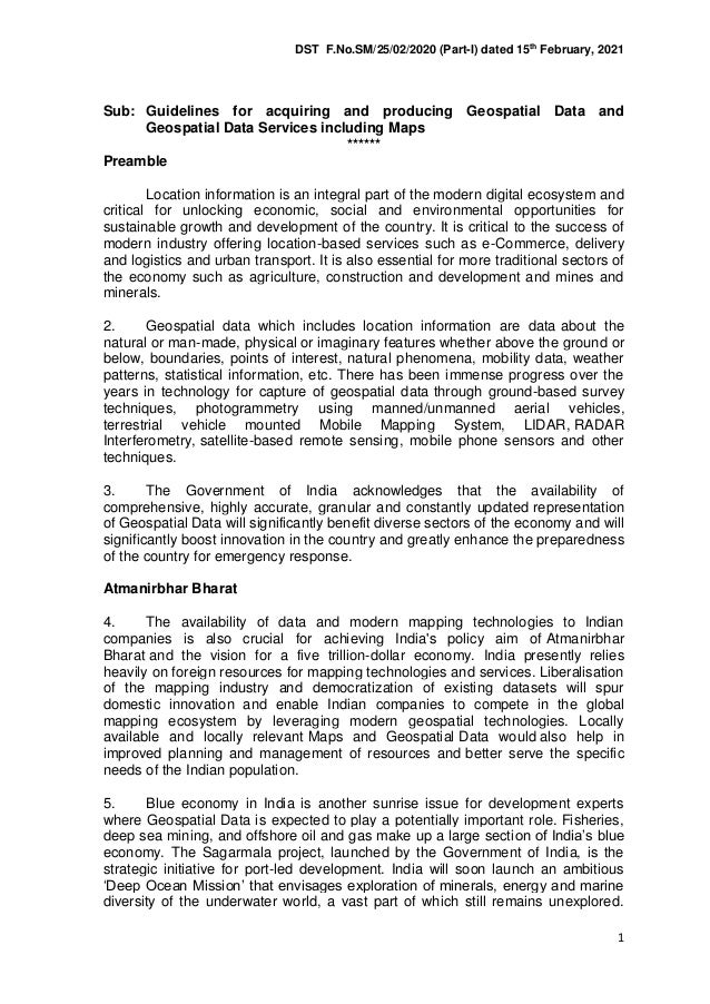DST F.No.SM/25/02/2020 (Part-I) dated 15th February, 2021 1 Sub: Guidelines for acquiring and producing Geospatial Data an...