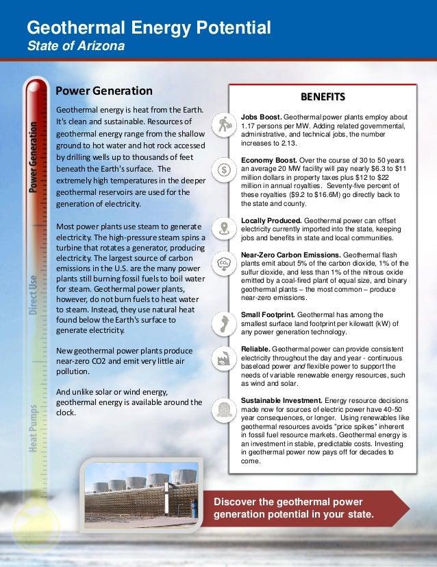 Geothermal Energy Potential State of Arizona Discover the geothermal power generation potential in your state. Power Gener...