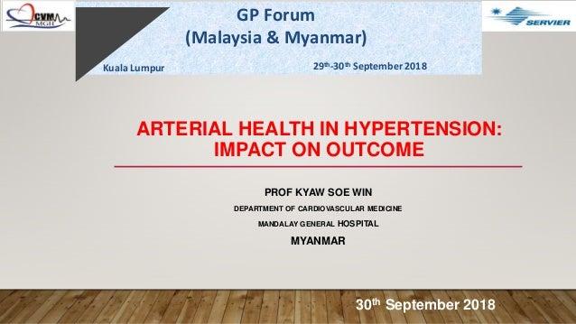 ARTERIAL HEALTH IN HYPERTENSION: IMPACT ON OUTCOME PROF KYAW SOE WIN DEPARTMENT OF CARDIOVASCULAR MEDICINE MANDALAY GENERA...