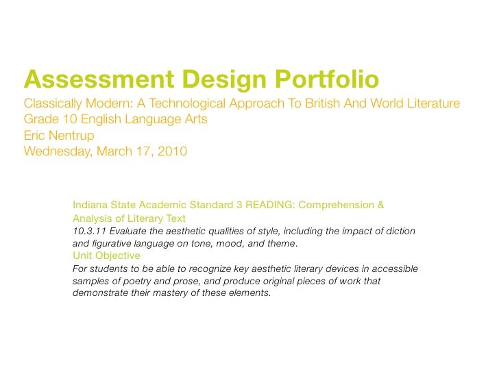 Assessment Design Portfolio Classically Modern: A Technological Approach To British And World Literature Grade 10 English ...