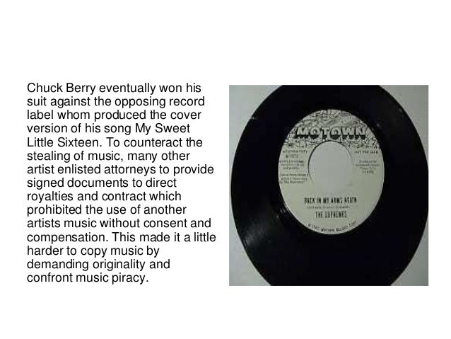 Chuck Berry eventually won his  suit against the opposing record  label whom produced the cover  version of his song My Sw...