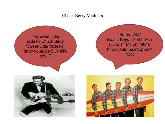 """Chuck Berry Madness  """"Surfin USA""""  Beach Boys - Surfin Usa  (Live, 14 March 1964):  http://youtu.be/sNypbmP  PDco  """"My swe..."""