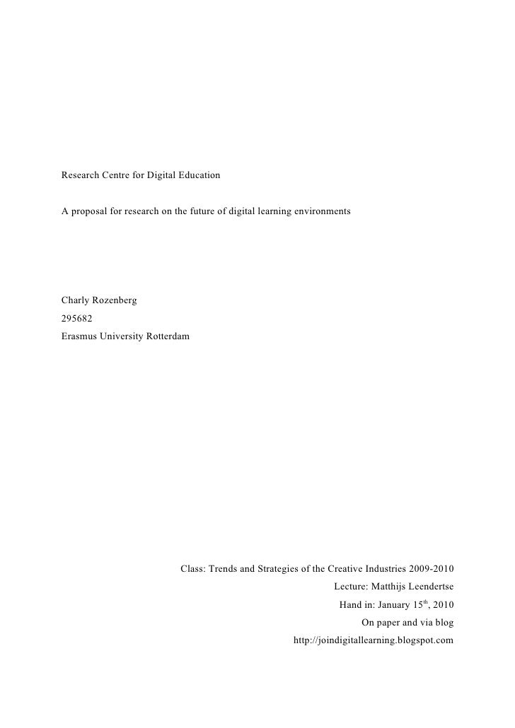 Research Centre for Digital Education   A proposal for research on the future of digital learning environments     Charly ...