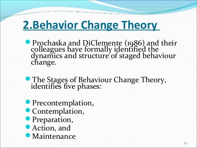 2.Behavior Change TheoryProchaska and DiClemente (1986) and their colleagues have formally identified the dynamics and st...