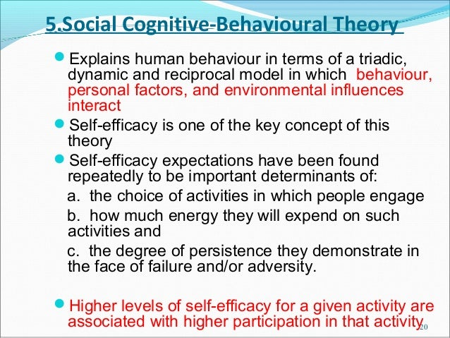 5.Social Cognitive-Behavioural TheoryExplains human behaviour in terms of a triadic, dynamic and reciprocal model in whic...