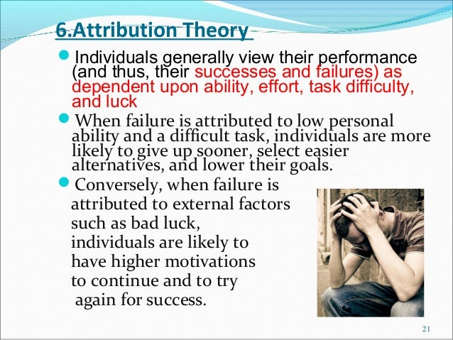 6.Attribution TheoryIndividuals generally view their performance (and thus, their successes and failures) as dependent up...