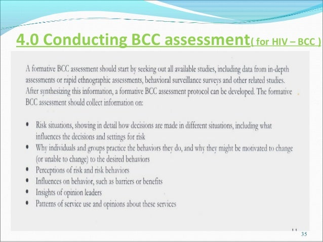 4.0 Conducting BCC assessment( for HIV – BCC )                                           35