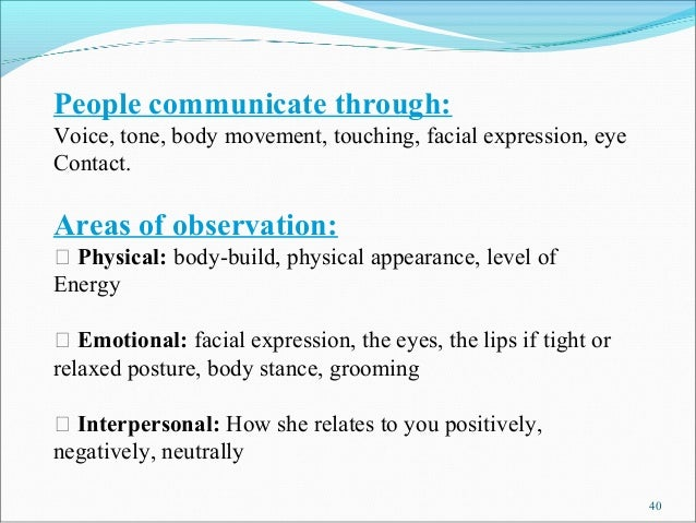 People communicate through:Voice, tone, body movement, touching, facial expression, eyeContact.Areas of observation:  Phy...