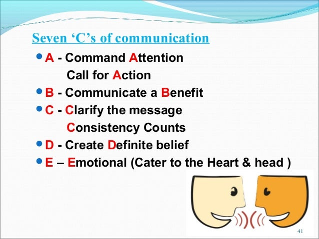 Seven 'C's of communicationA - Command Attention     Call for ActionB - Communicate a BenefitC - Clarify the message   ...