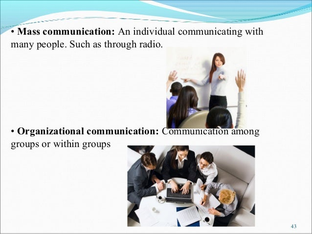 • Mass communication: An individual communicating withmany people. Such as through radio.• Organizational communication: C...