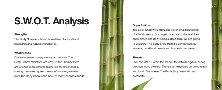 body shop singapore swot analysis Case analysis - the body shop - free download as powerpoint presentation (ppt), pdf file (pdf) or view presentation slides online.