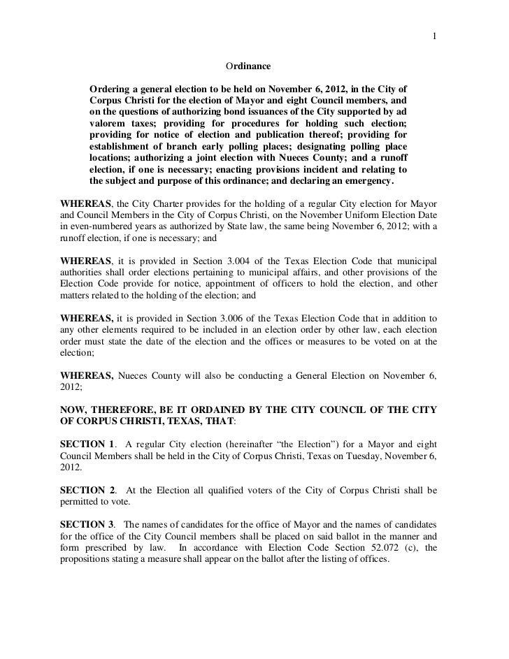 1                                         Ordinance       Ordering a general election to be held on November 6, 2012, in t...