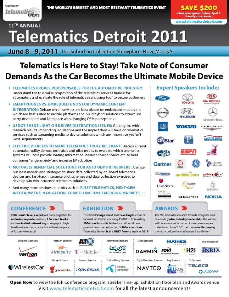 Organized by:                                  the WorlD's Biggest anD Most relevant teleMatics event                     ...