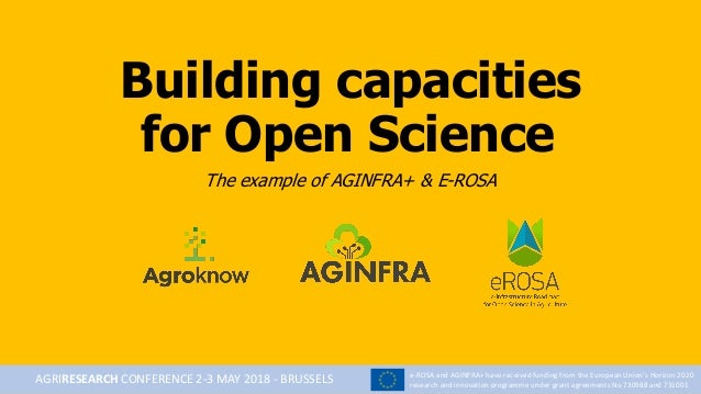 Building capacities for Open Science The example of AGINFRA+ & E-ROSA e-ROSA and AGINFRA+ have received funding from the E...