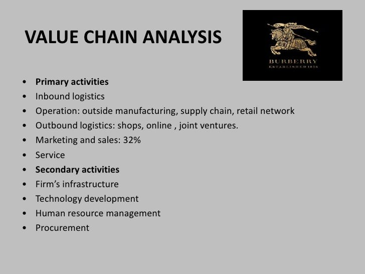 burberry value chain The value chain framework of michael porter is a model that helps to analyze specific activities through which firms can create value and competitive.