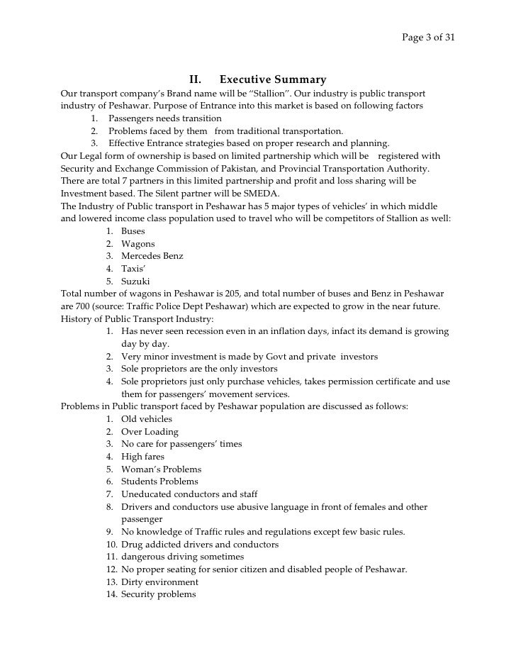 taxi service business plan pdf