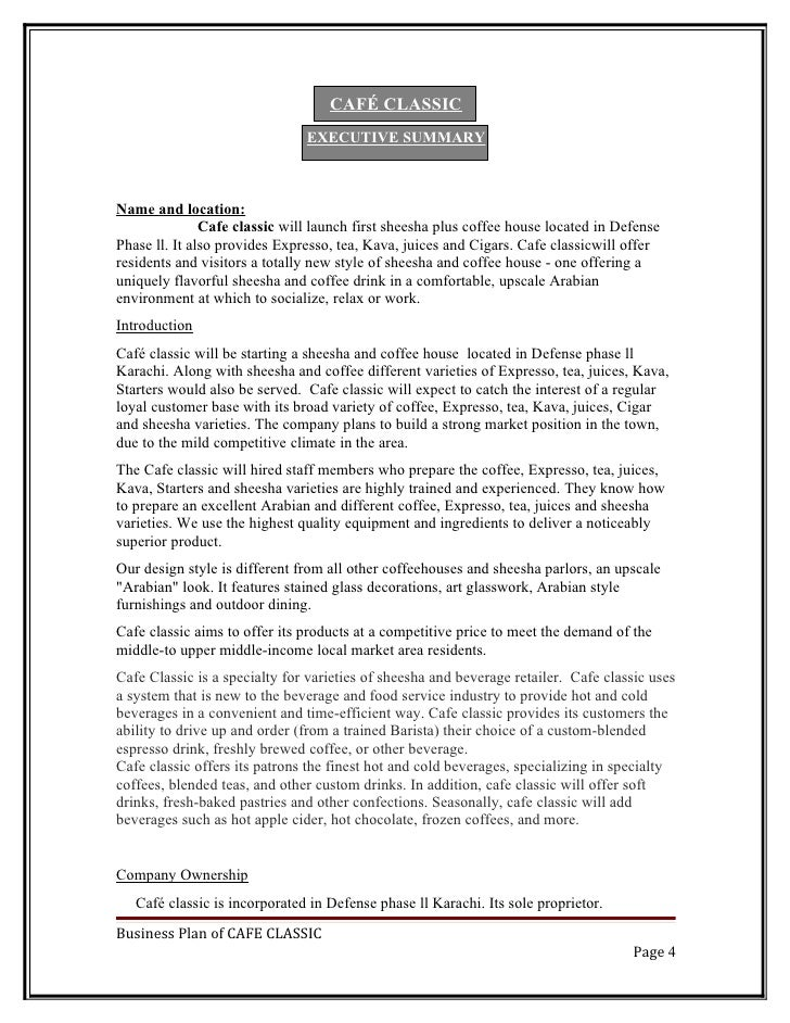 Business Plan - Business plan template cafe