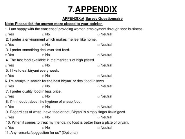 Business Plan Section 9: Appendix
