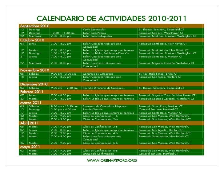 CALENDARIO DE ACTIVIDADES 2010-2011 Septiembre 2010 12   Domingo                             Youth Spectacular            ...