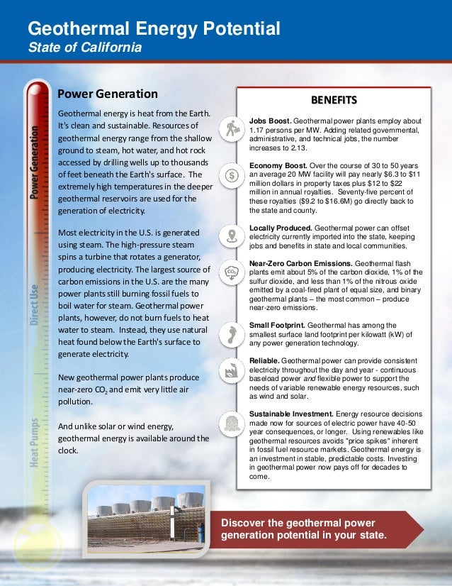 Geothermal Energy Potential State of California Discover the geothermal power generation potential in your state. Power Ge...