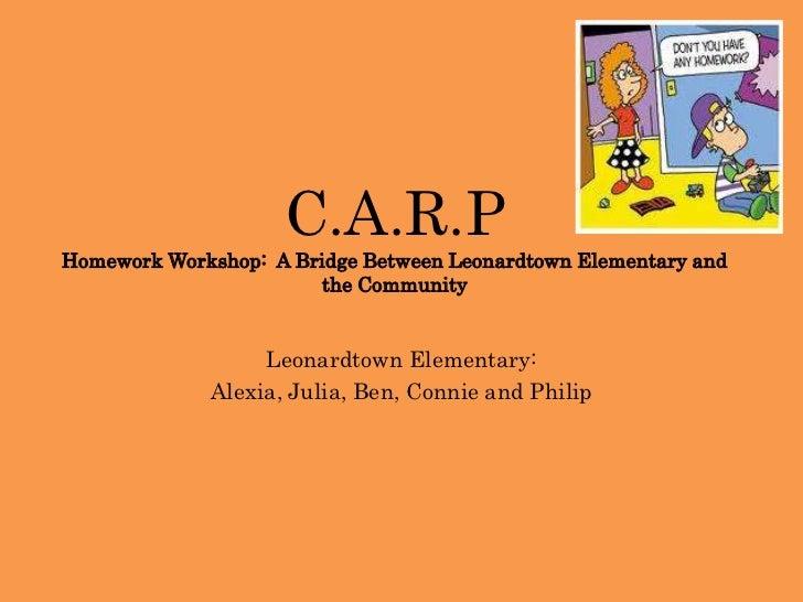 C.A.R.PHomework Workshop:  A Bridge Between Leonardtown Elementary and the Community<br />Leonardtown Elementary:<br />Ale...