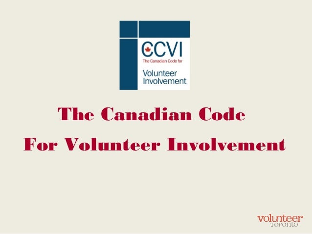 The Canadian Code For Volunteer Involvement