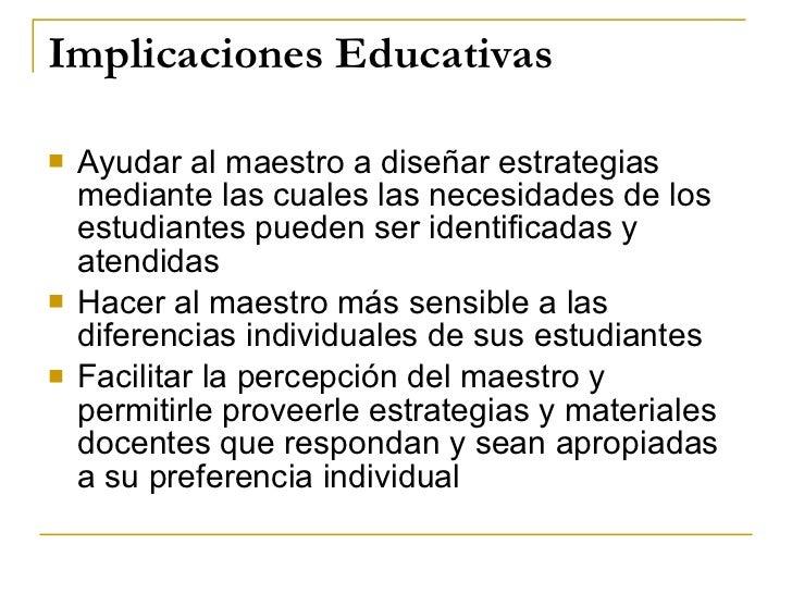 Implicaciones Educativas <ul><li>Ayudar al maestro a diseñar estrategias mediante las cuales las necesidades de los estudi...