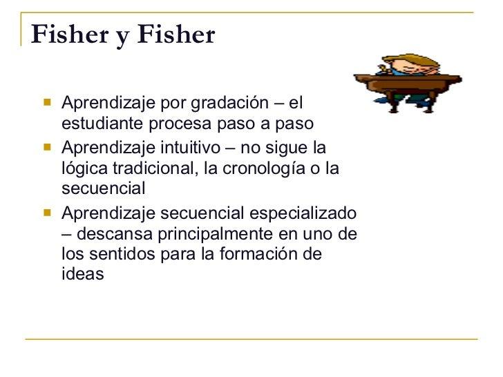 Fisher y Fisher <ul><li>Aprendizaje por gradación – el estudiante procesa paso a paso </li></ul><ul><li>Aprendizaje intuit...